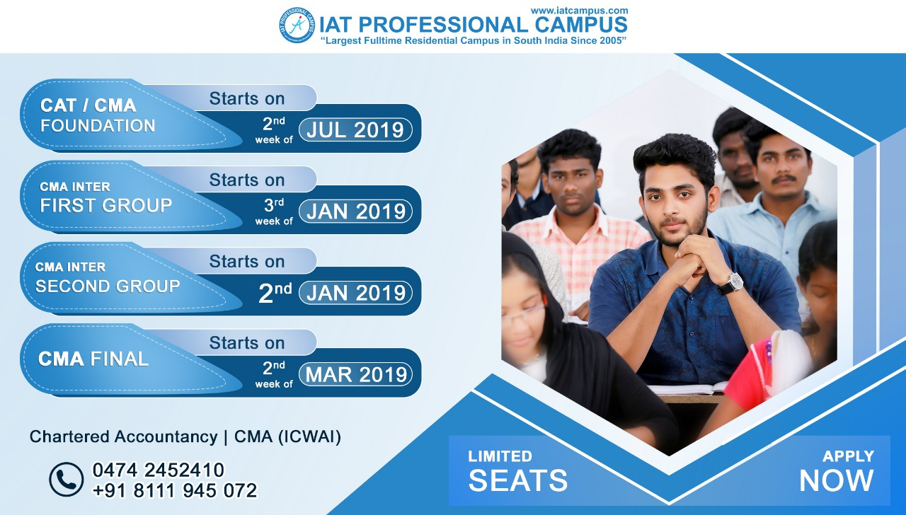 CAT / CMA Foundation, CMA Inter First / Second Group & CMA Final Batch