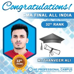 CMA Final All India 32th Ranker from IAT Campus