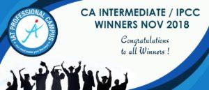 CA Intermediate / IPCC Winners Nov 2018