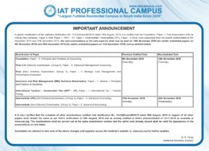 Rescheduled Exam Dates