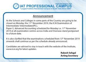 ICAI Examinations Postponed