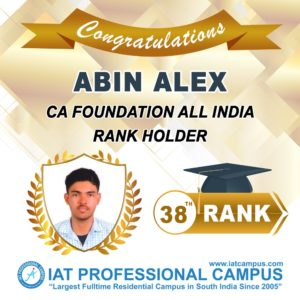 CA Foundation All India 38th Rank Holder 2020